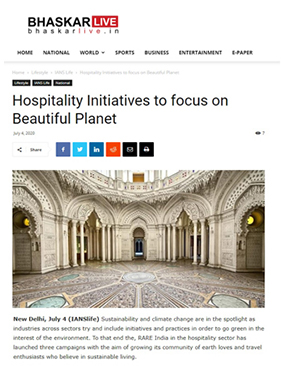 Bhaskarlive.in : Hospitality Initiatives to focus on Beautiful Planet