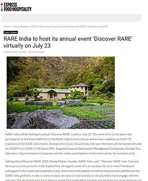 Express Food & Hospitality : RARE India hosts annual event 'Discover RARE' virtually
